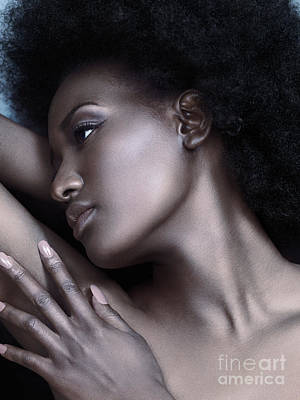 Beautiful Black Woman Face With Shiny Silver Skin Print by Oleksiy Maksymenko