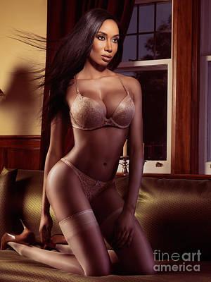 Beautiful Black Woman In Lingerie Posing On A Bed Print by Oleksiy Maksymenko