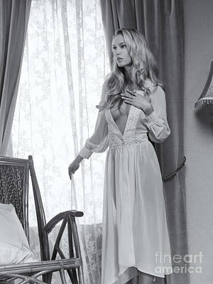 Rocking Chairs Photograph - Beautiful Blond Woman In Night Gown By The Window Black And Whit by Oleksiy Maksymenko