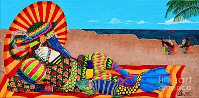 Boobies Painting - Beautiful Blue Boobies by KJ Swan