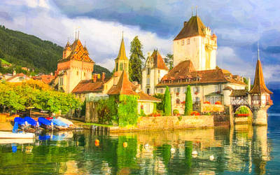 Water Tower Place Painting - Beautiful Castle Oberhofen On The Thun Lake by Lanjee Chee
