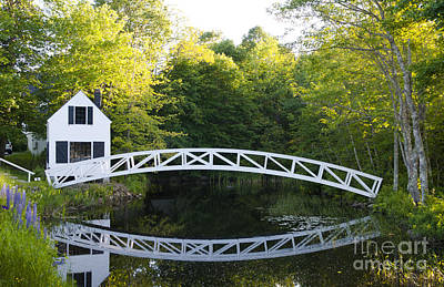 Beautiful Curved Bridge In Somesville Print by Bill Bachmann