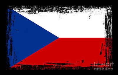 Prague Mixed Media - Beautiful Czech Republic Flag by Pamela Johnson