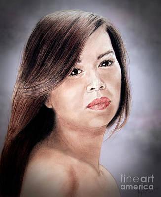Filipina Drawing - Beautiful Filipina Woman Fade To Black Version by Jim Fitzpatrick