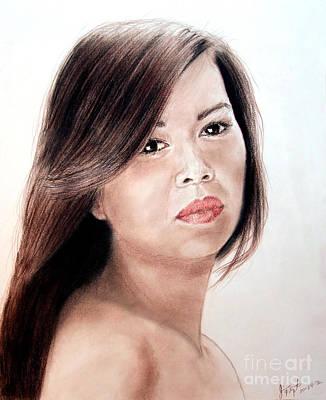Filipina Drawing - Beautiful Filipina Woman by Jim Fitzpatrick