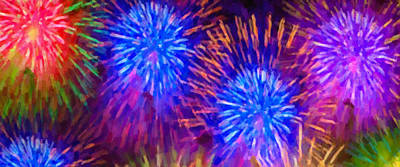 Fireworks Display Painting - Beautiful Fireworks 10 by Lanjee Chee