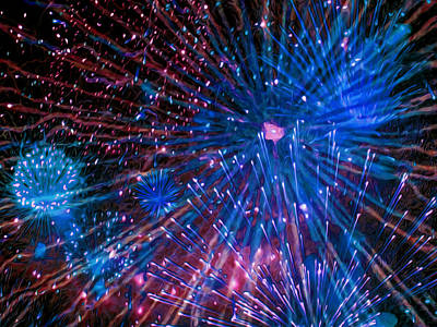 Fireworks Display Painting - Beautiful Fireworks  2 by Lanjee Chee