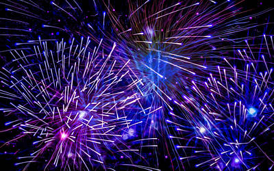 Fireworks Display Painting - Beautiful Fireworks  3 by Lanjee Chee