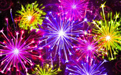 Fireworks Display Painting - Beautiful Fireworks  6 by Lanjee Chee