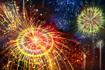 Fireworks Display Painting - Beautiful Fireworks 8 by Lanjee Chee