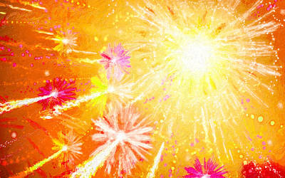 Fireworks Display Painting - Beautiful Fireworks by Lanjee Chee