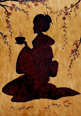 Cherry Blossoms Painting - Beautiful Geisha Coffee Painting by Georgeta  Blanaru