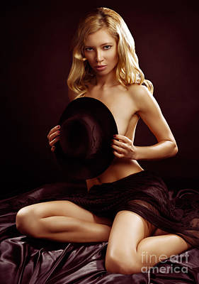 Nude Photograph - Beautiful Half Naked Woman Covering Herself With Black Hat by Oleksiy Maksymenko