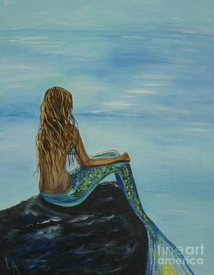 Mermaid Painting - Beautiful Magic Mermaid by Leslie Allen
