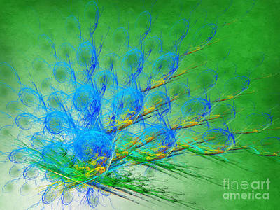 Iridescent Mixed Media - Beautiful Peacock Abstract 1 by Andee Design