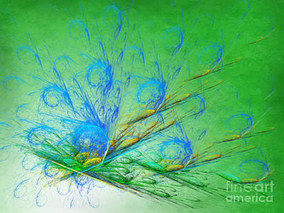 Iridescent Mixed Media - Beautiful Peacock Abstract 2 by Andee Design