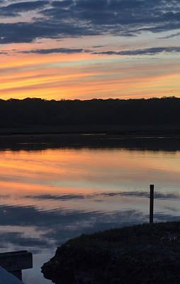Beautiful Pink And Yellow Sunset Over A Connecticut Salt Marsh Print by Marianne Campolongo