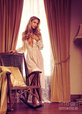 Rocking Chairs Photograph - Beautiful Sensual Woman Standing At A Window by Oleksiy Maksymenko