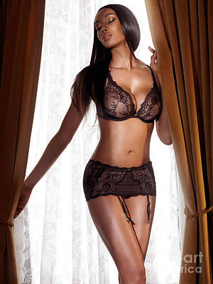 Beautiful Sexy Black Woman In Lingerie Standing At The Window Print by Oleksiy Maksymenko