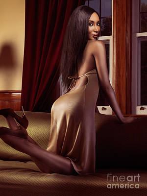 Beautiful Sexy Black Woman Near A Window Print by Oleksiy Maksymenko
