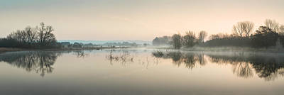 Beautiful Tranquil Mist Over Lake Sunrise Landscape Print by Matthew Gibson