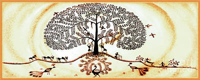 Warli Painting - Beautiful Tree Of Life by Anjali Vaidya