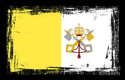 Religious Art Mixed Media - Beautiful Vatican City Flag by Pamela Johnson