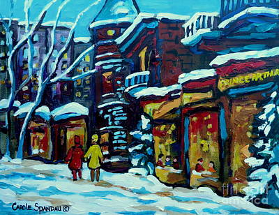 Montreal Streetlife Painting - Beautiful Winter Evening by Carole Spandau