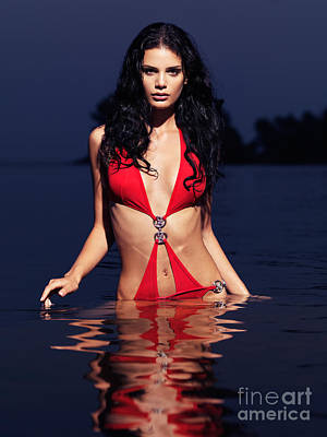 Beautiful Woman In Red Swimsuit Walking Out Of Water Print by Oleksiy Maksymenko
