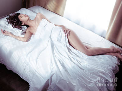 Beautiful Woman Sleeping Naked In Bed Covered With White Sheets  Print by Oleksiy Maksymenko