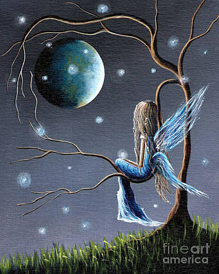 Angel Blues Painting - Fairy Art Print - Original Artwork by Shawna Erback