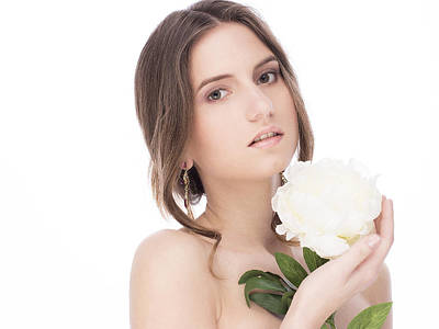 Beautiful Young Female With A Peony Original by Anastasia Yadovina