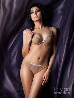 Beautiful Young Woman In Lingerie On Flowy Fabric Background Print by Oleksiy Maksymenko