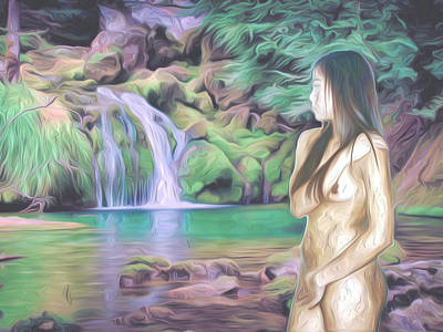 Nudes Photograph - Beauty By The Falls by Oscar Del Mundo