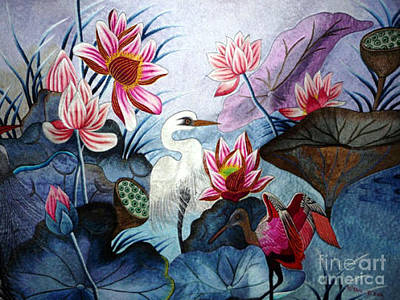 Beauty Of The Lake Hand Embroidery Print by To-Tam Gerwe