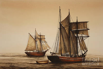 Historic Schooner Painting - Beauty Of Wooden Ships by James Williamson