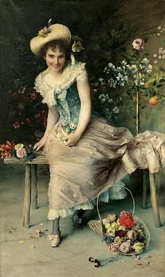 Beauty On A Garden Bench Print by Francesco Vinea