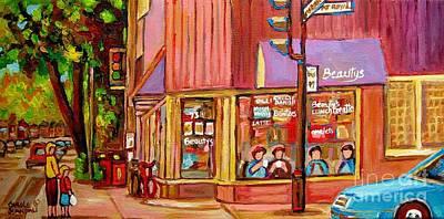 Montreal Storefronts Painting - Beauty's Cafe Plateau Montreal Street Scene Brunch Deli Paintings Carole Spandau by Carole Spandau