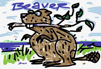 Beaver Drawing - Beaver by Brett LaGue