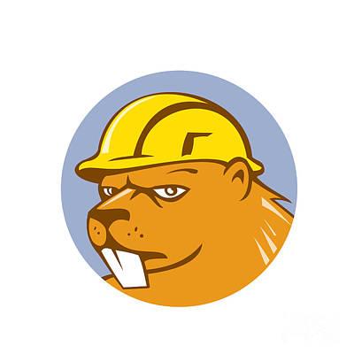 Beaver Construction Worker Circle Cartoon  Print by Aloysius Patrimonio