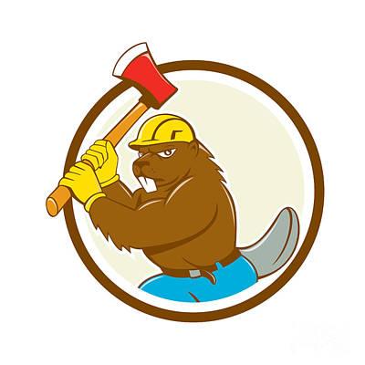 Beaver Lumberjack Wielding Ax Circle Cartoon Print by Aloysius Patrimonio