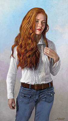 Red Hair Painting - Becca In Blouse And Jeans by Paul Krapf