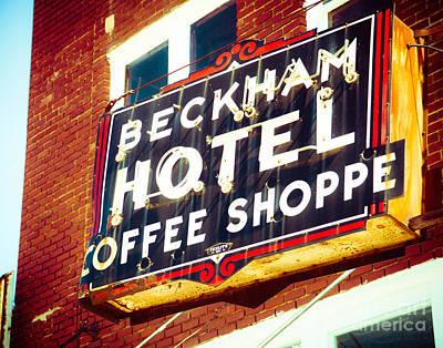 Squint Photograph - Beckham Hotel Sign by Sonja Quintero