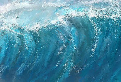 Abstract Seascape Painting - Beckoning Heights- Surfing Art by Lourry Legarde