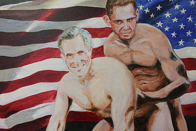 Spagnola Mixed Media - Bedfellows Obama And Romney by Dustin Spagnola