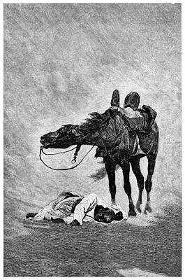 Bedouin And Horse In A Sandstorm Print by Science Photo Library