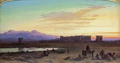 Bedouin Encampment Before The Temple Of Hathor At Dendera Print by Charles Vacher