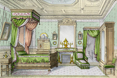 Interior Design Drawing - Bedroom In The Renaissance Style by French School