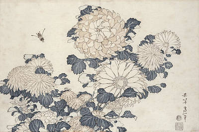 Bee And Chrysanthemums Print by Katsushika Hokusai