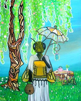 Datura Painting - Bee And Tea by B Waller